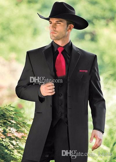Grosshandel Vintage Western Smoking Cowboy Slim Fit Schwarz Brautigam