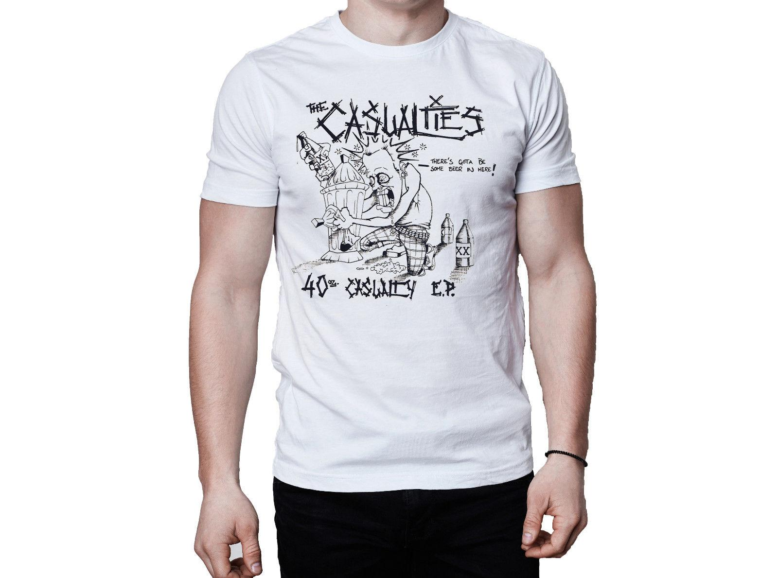 The Casualties 40 Oz Casualty 1992 Ep Cover Cover T-shirt T Shirt Marchio 2018 Maschio Short Sleeve Top Tee O - Neck T Shirt Uomo