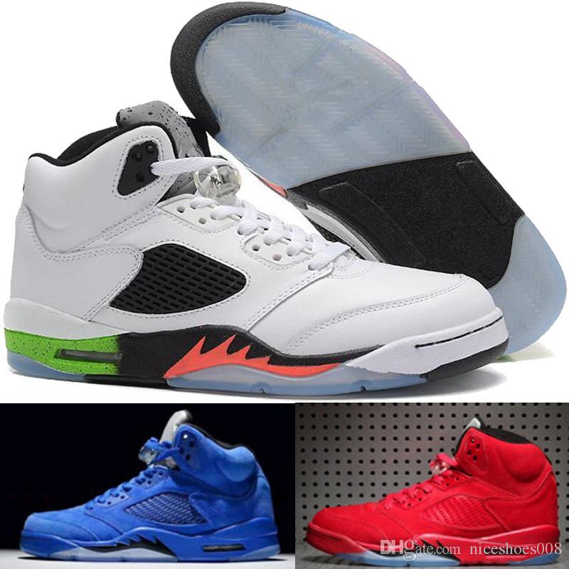 online retailer 20fb4 ef7f4 Acheter Nike Air Jordan Aj 5 Chaussures De Basket Ball 5 5s Hommes Sneakers  Og Noir Métallisé Fire Red Chaussures De Sport Blue Suede Olympic Metallic  Or 5s ...