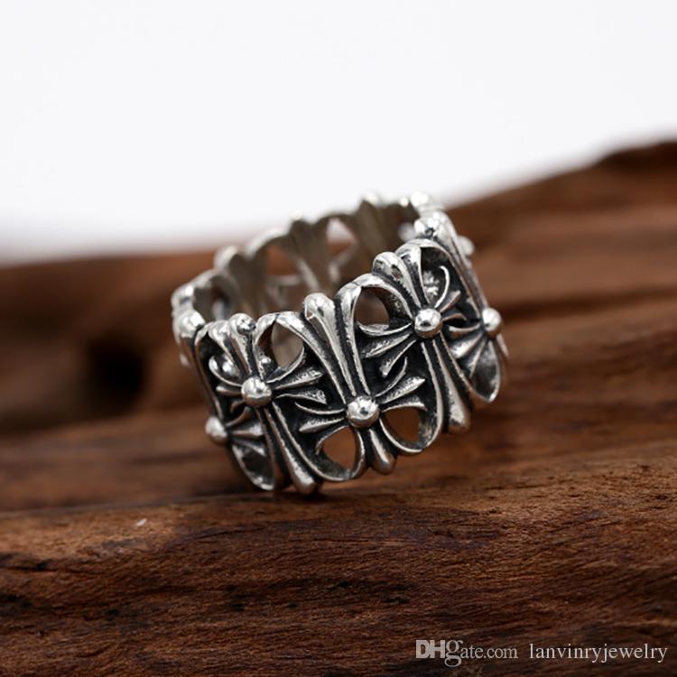 Marka Yeni 925 Ayar Gümüş Takı Amerikan Avrupa Antik Gümüş El Yapımı Tasarımcı Kalın Yüzük Erkekler Kadınlar Için Bant Yüzük Hediyeler Haçlar