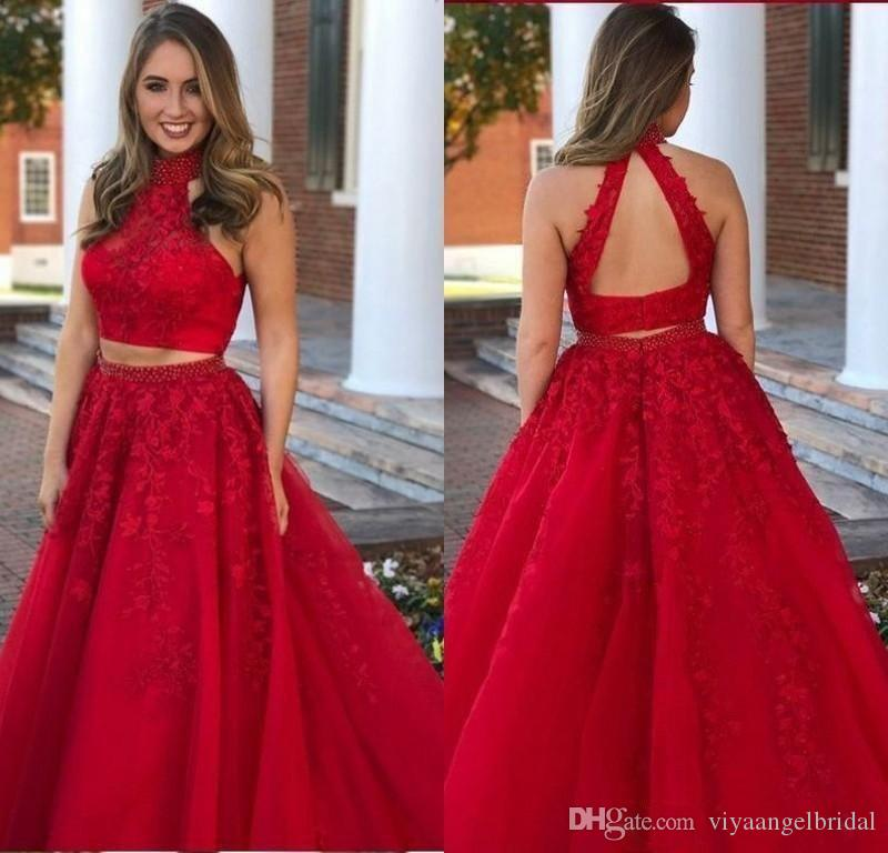 314c58a43e20 2019 Two Piece Prom Dresses Red Lace Applique A Line Halter High Neck  Beaded Backless Long Formal Women Special Occasion Party Evening Gowns  Canada 2019 ...