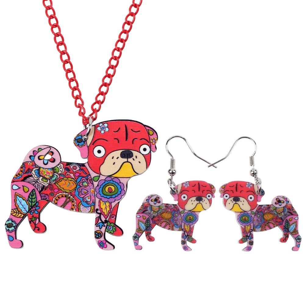 Newei Brand Acrylic Statement Pug Dog Necklace Earrings Jewelry Sets Choker Collar Fashion Jewelry For Women Girl Gift