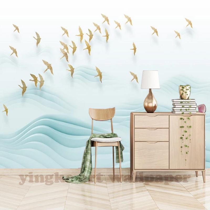 Compre Personalizado 3D Murais De Parede Papel De Parede Pássaros Dourados  Colina Sala De TV Fundo Papel De Parede Foto Moda Simples Mural 3D De  Anzhuhua b0dcbb6a19c