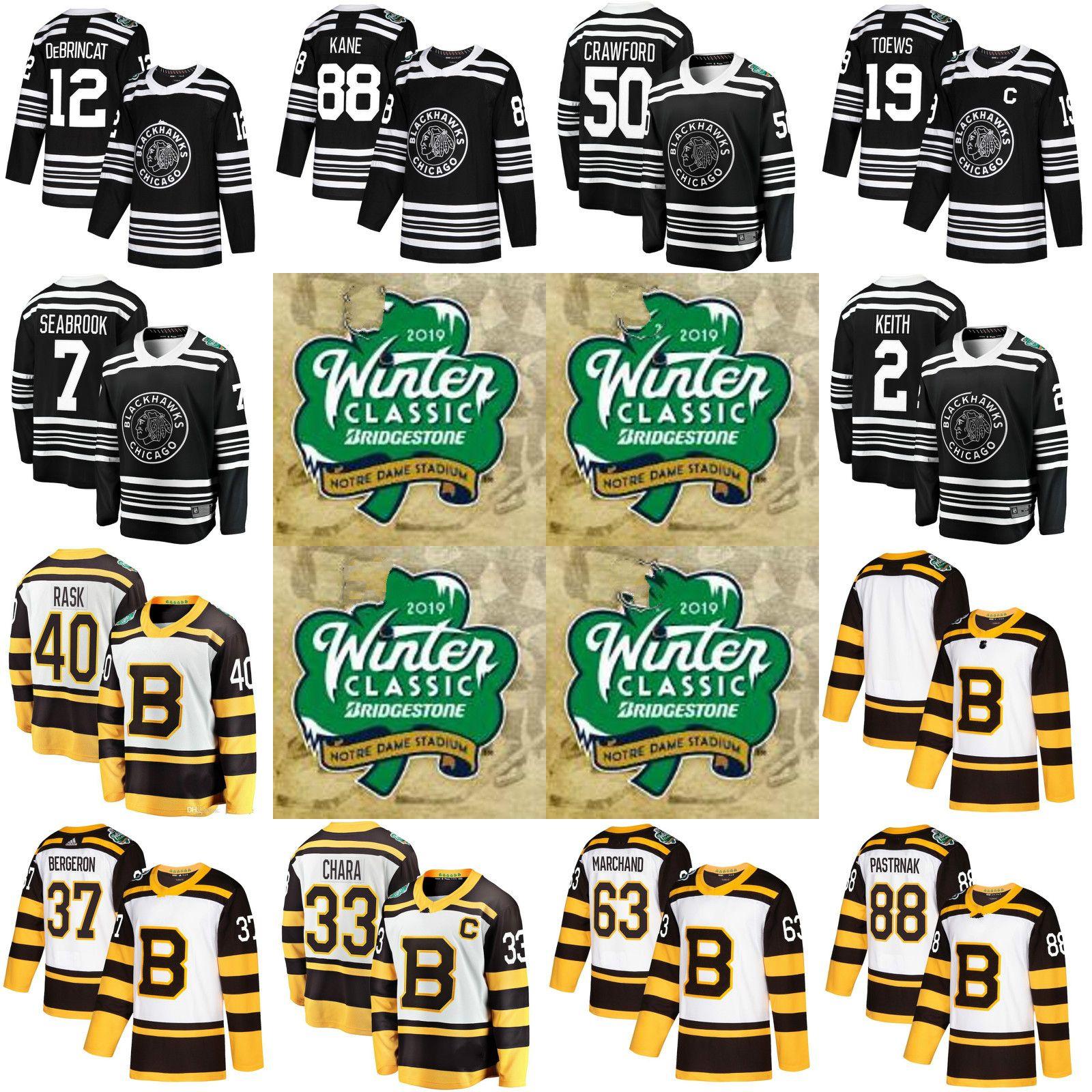 2019 Custom Boston Bruins Chicago Blackhawks 2019 Winter Classic Hockey  Jersey Duncan Keith Toews Corey Crawford Patrick Kane Notre Dame Stadium  From ... 2d955fc8a
