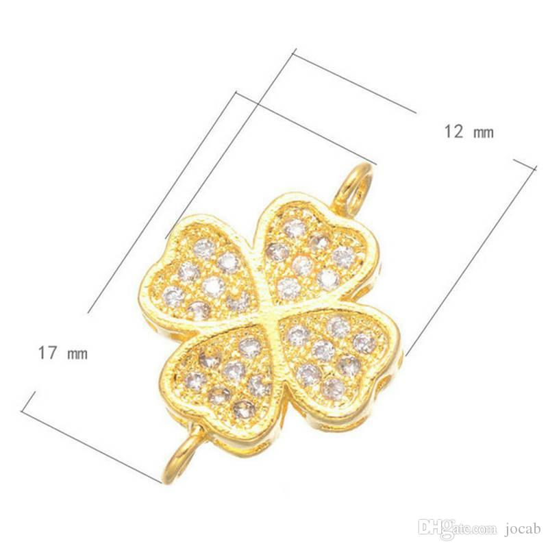 Wholesale Handmade DIY Accessories Luxury Zircon Crystal Clover Double Hole Charms Pendant Flower Women Bracelet Necklace Earrings Connector
