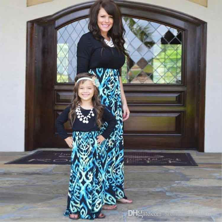 abfbcef3b056b5 2018 Spring Summer Mother Daughter Dress Long Sleeve Printing Stitching  Family Matching Clothes Vintage Long Dresses UK 2019 From  Stellakidsbowtique, ...