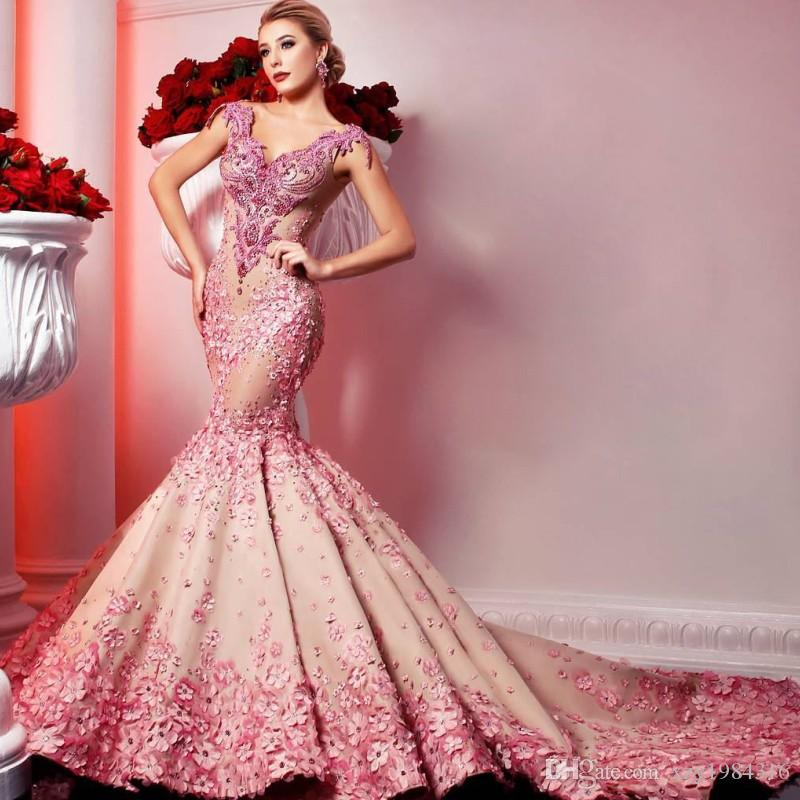 c9f1917d642 Acheter Magnifique Pastel Mermaid Robes De Soirée Perles Chérie Appliques  Florales Sans Manches Pageant Robe De Bal Incroyable Dubai Arabia Red  Carpet Dress ...