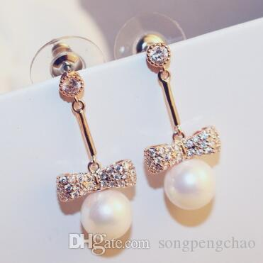 4a3ef8bae 2019 Korean Fine Jewelry Crystal Bow Knot Pearl Drop Dangle Earrings For  Women Platinum Plated Earrings Fashion Accessories From Songpengchao, ...