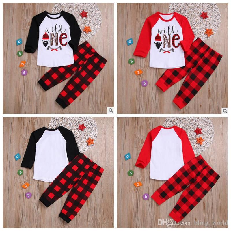 b6bd937e3 2019 Christmas Baby Clothes Sets INS Girls Letter Printed Plaid Tops ...