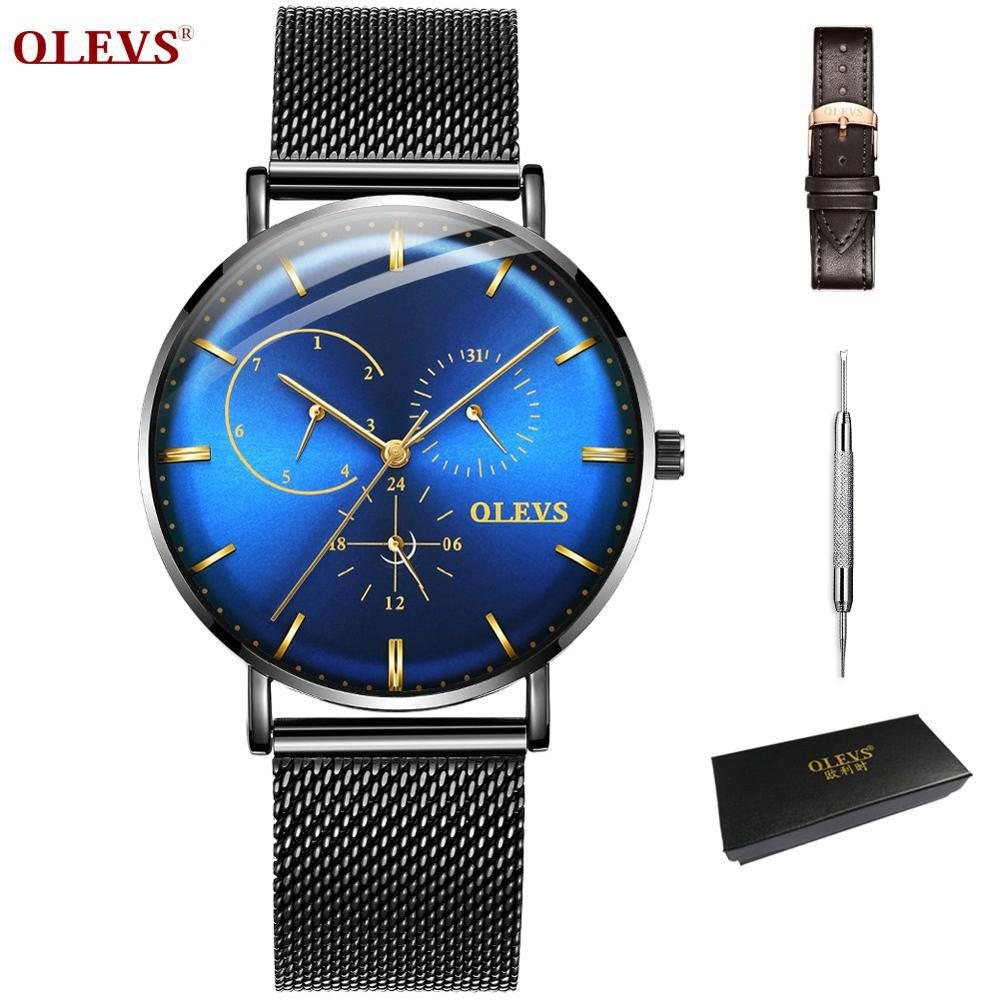 8a224a8f0 OLEVS Casual Men Watch Black Stainless Steel Mesh Strap Watches For Man  Waterproof Quartz Male Wristwatch Week Relogio Masculino Watch Discount  Wrist ...
