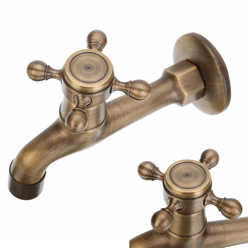Wholesale-New Arrival Antique Brass Faucet Tap Mayitr Wall Mounted ...