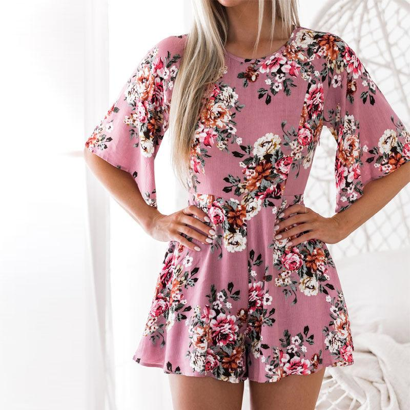 fc40d8446ff8 2019 Women S Backless Mini Playsuit Floral Jumpsuit Rompers Short Sleeve  Summer Beach Casual Women Clothes New Fashion From Rykeri