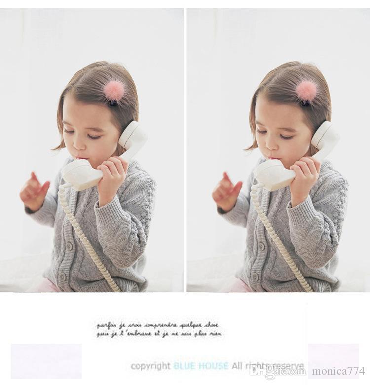 Оптовая корейская Fasion девушки искусственного меха смычка волос младенца Pom Pom Шпилька Дети Boutique Barrettes Аксессуары для волос Дети помпон головной убор H57