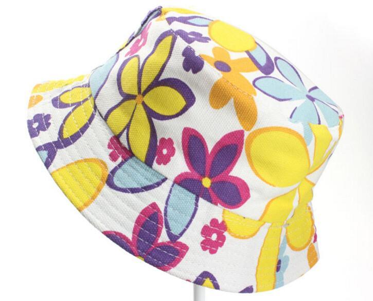 Çocuk Kepçe Şapkalar Çocuk Güneş Şapkası Çiçek bebek güneş şapkası çocuk Caps Bebek Balıkçı Şapka Karikatür çocuklar plajda güneş şapkaları 40 Renkler Balıkçılık