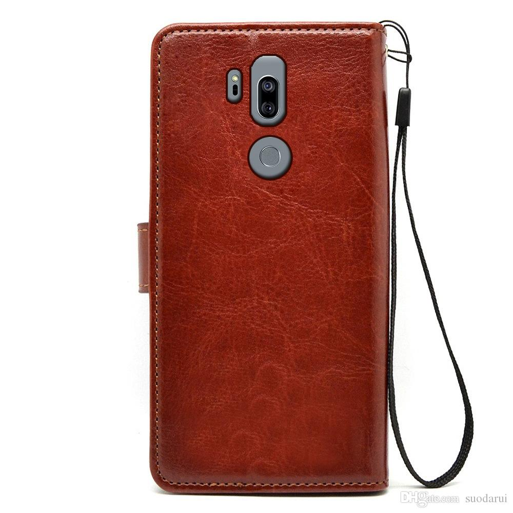 on sale 993ec 347fc Flip leather Case for LG G7 ThinQ TPU PU Leather Magnetic Book Wallet Cover  Pouch With Lanyard
