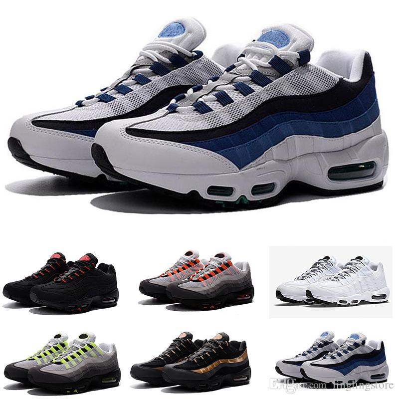 ce88fb25b0c Acheter Nike Air Max Airmax 95 Drop Shipping En Gros Chaussures De Course  Hommes Airs Coussin 95 OG Sneakers Bottes Authentique 95 S Nouvelle Marche  ...