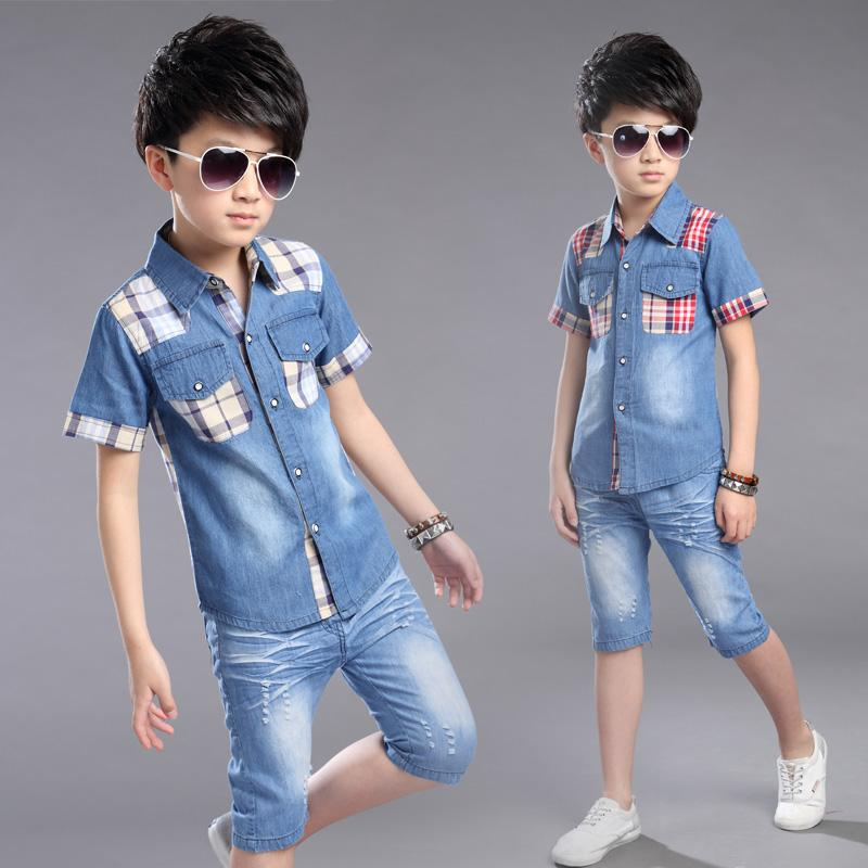 Boys Clothing Summer Boys Clothes Set Shirt +Denim Shorts 2pcs Kids Clothes Set Turn-down Collar Big Boys Casual Suit