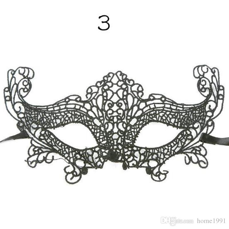 New Halloween Hollow Sexy Masquerade Masks Black Lace Masks Half Face Mask for Christmas Cosplay Party Night Club Masks