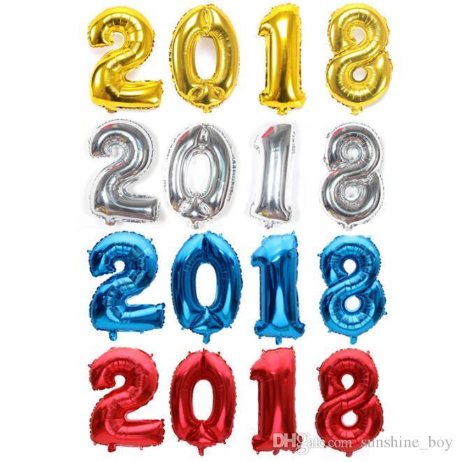 Palloncino digitale da 32 pollici 2018 Nuovissimo centro commerciale feste Eve party aula oro argentato nero blu rosso caldo rosa