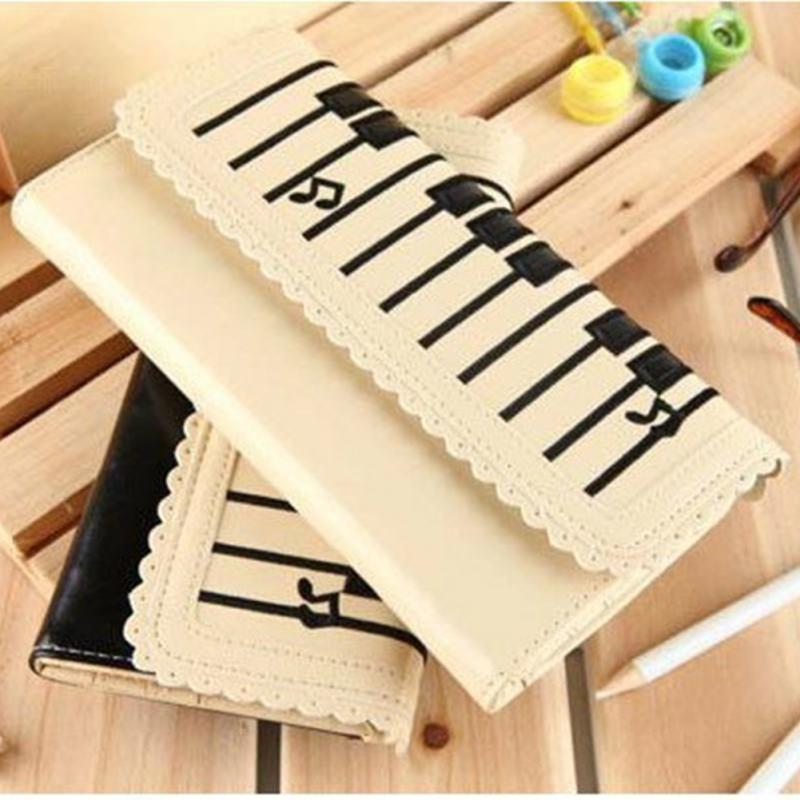Frauen 2-Schicht Geldbörse Piano Keys Pattern Lange Brieftasche