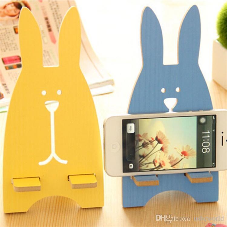 Coniglio di legno sveglio del supporto del supporto del telefono cellulare del supporto universale del telefono del coniglio IPhone Samsung Smartphone