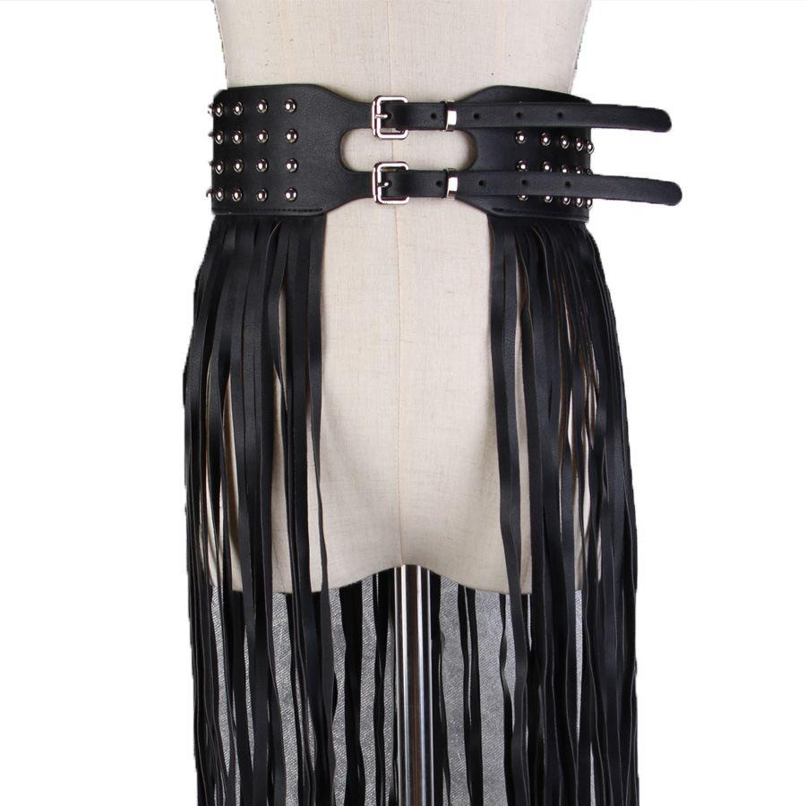 519d606725ab Punk Riverts Double Pin Buackle Belt Bohemian Pu Leather Fringe Tassel  Corset Belt Faux Skirt Belts For Woman High Waist Seat Belts Maternity Belt  From ...