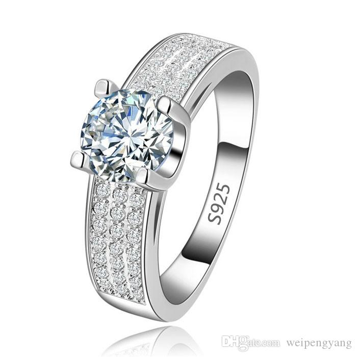 6.0 Ct Taille 8,9,10,11 Homme Solitaire Blanc Topaz 18K Gold Filled Anneaux Mariage