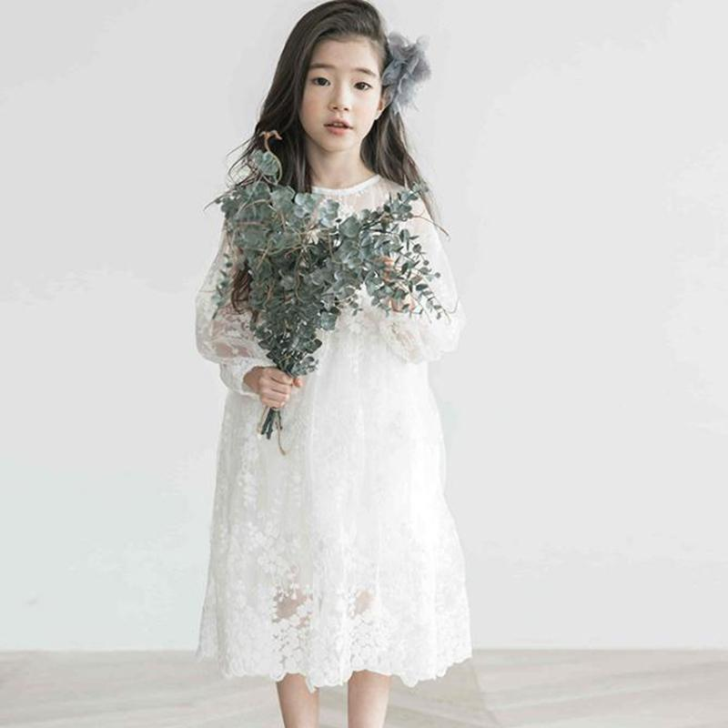 Children Girl Wear 2018 Spring and Summer Korean Girls Long Sleeves Lace Dresses Solid Color Lace Long Dress