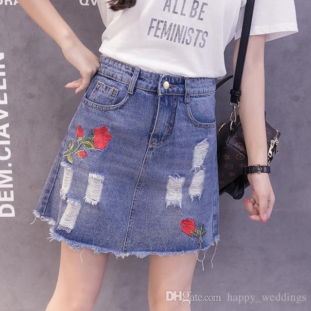 6077edcfdb 2019 Embroidery Fringe Ripped Denim Skirt Women Streetwear High Waist A  Line Skirt Female Casual Pocket Mini Skirts Womens From Happy weddings