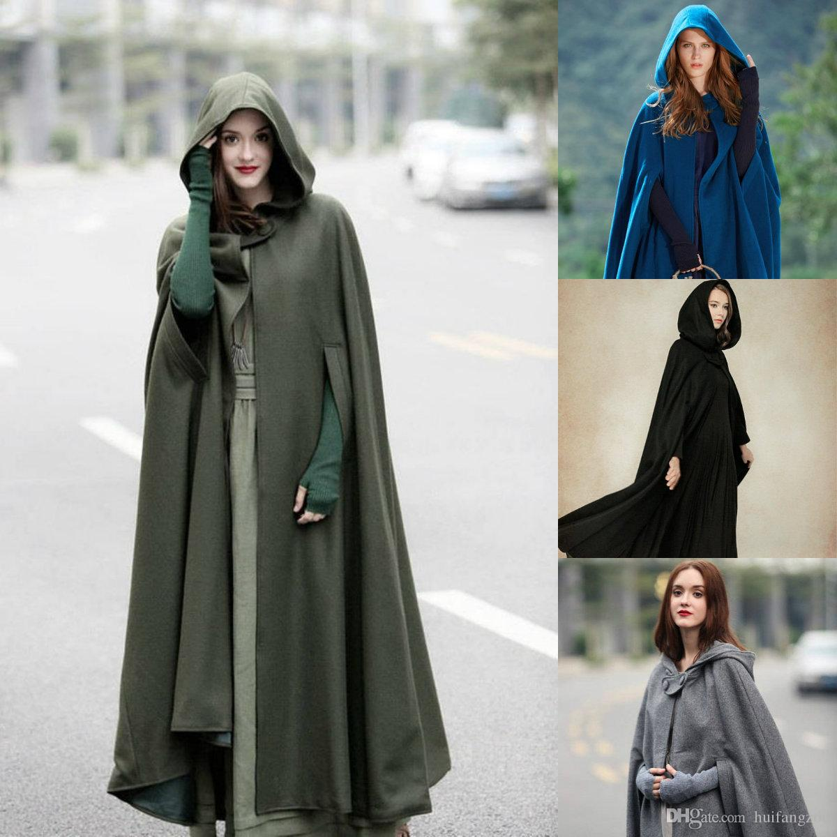 Hooded Cape Clothes Design Fashion: 2019 Fashion Hooded Cloak Cape Women High Quality Long