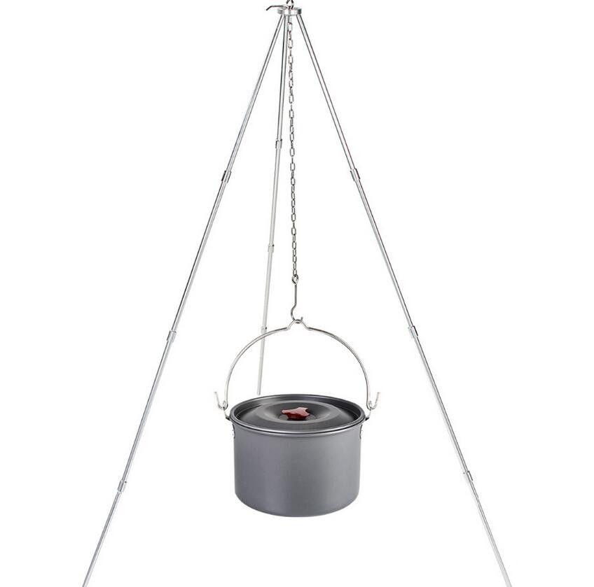 Acampar al aire libre Picnic de cocina Trípode Olla colgante Durable Campfire portátil Picnic Cook Agua Boil Pot Riser Parrilla de fuego Trípode colgante EOS79
