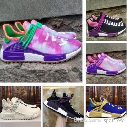 quality design d9246 4e3df 2018 Pharrell x Original Hu 2019 Trail Human Race NERD Black Running Shoes  Colette Moon Noble Ink Pale Nude Men Women Sport Sneakers