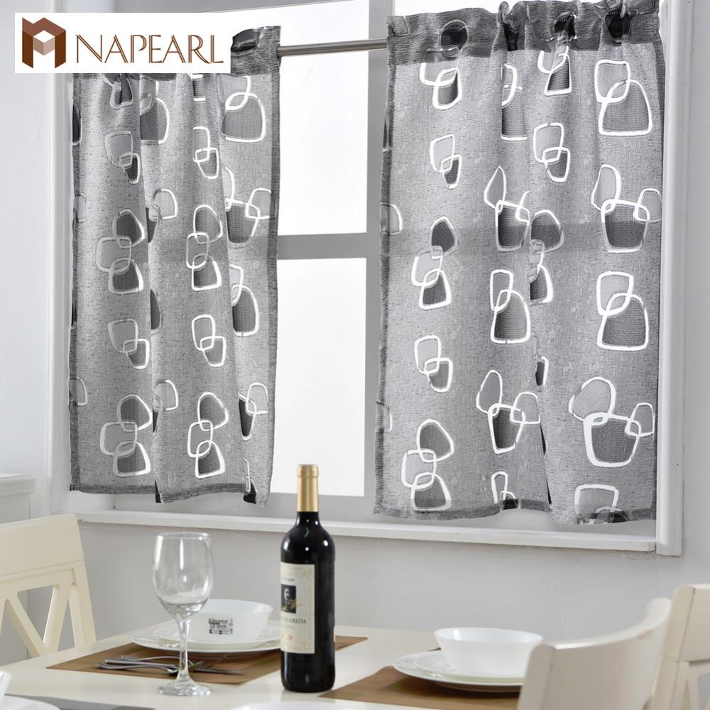 Short Kitchen Curtains Jacquard Window Treatments Modern Door Ready Made Kitchen Window Curtain Geometric Design Rod Pocket