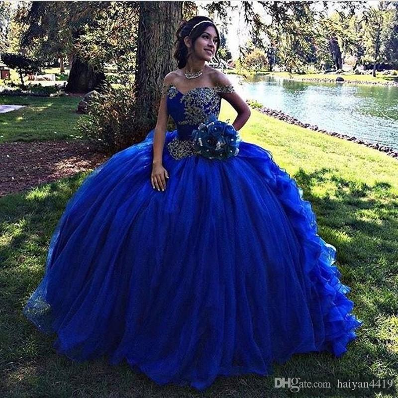 2018 Royal Blue Sweet 16 Quinceanera Dress Off Shoulder Ruffles Ball Gown Lace Appliques Beaded Puffy Long Prom Evening Gowns Wear Vestidos