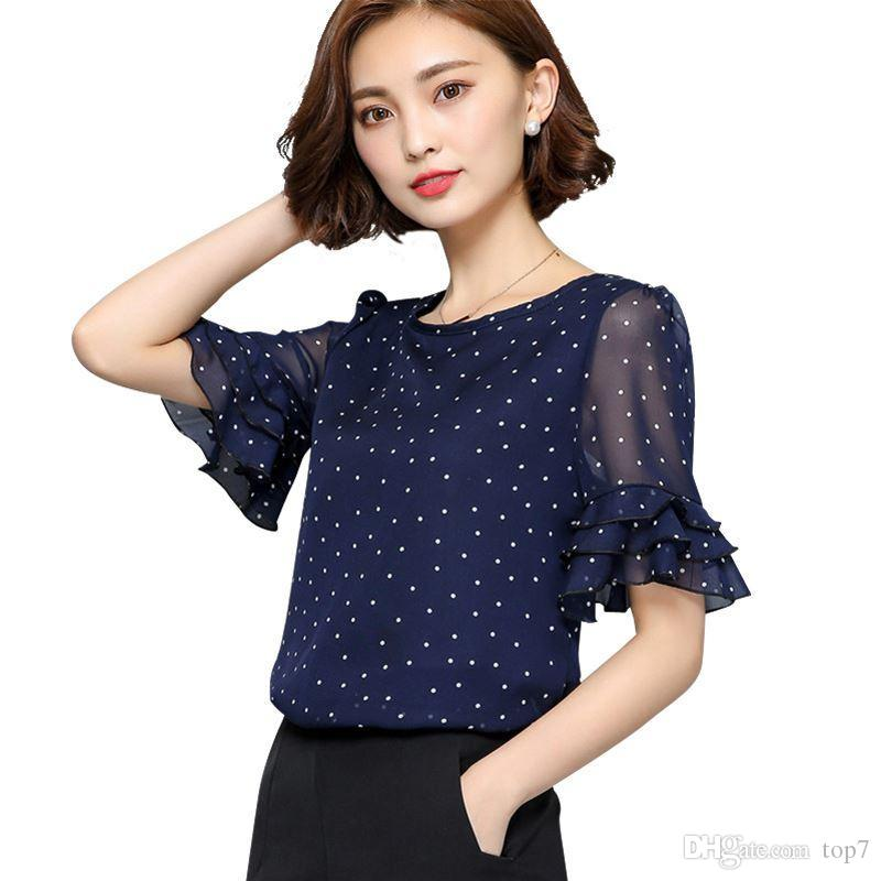 51f83b17bda 2019 New 2018 Summer Short Sleeve Women Chiffon Blouse Fashion Polka Dot  Print Women Blouses Plus Size Women Clothing Chiffon Tops From Top7, ...