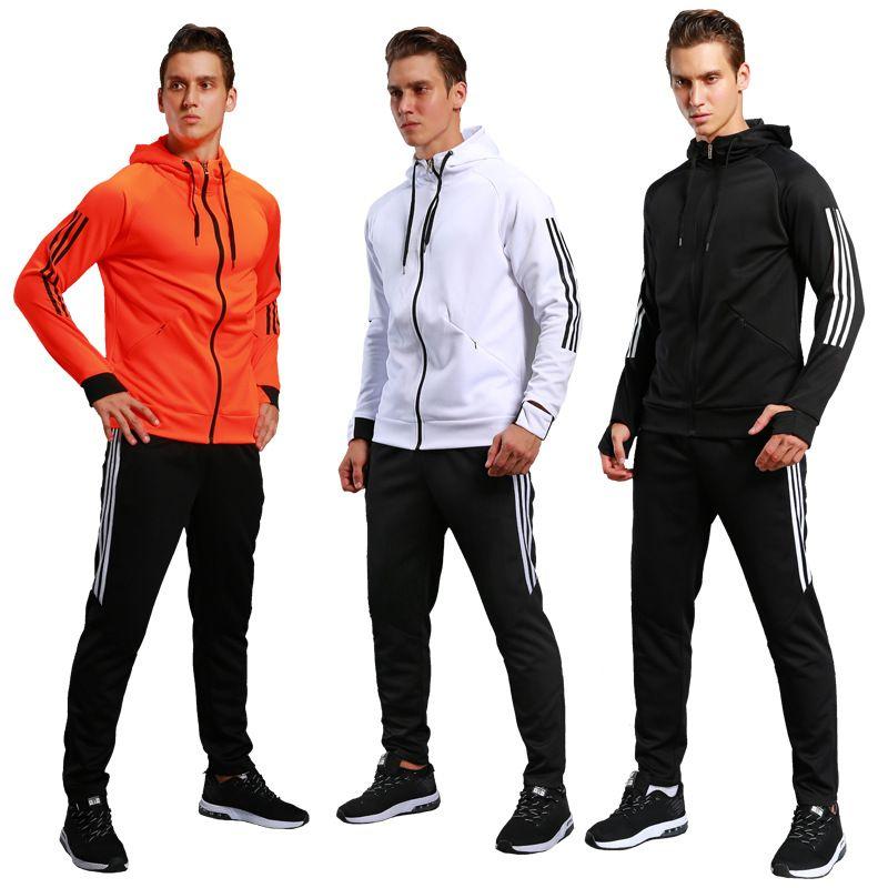 29eb4c1d42c 2018 Football Training Clothing Long-Sleeved Zipper Sports Suits ...