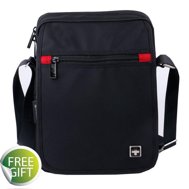 Swiss Fashion Brand Men Shoulder Bag Small Black Messenger Daily ... 9d38a4faa8