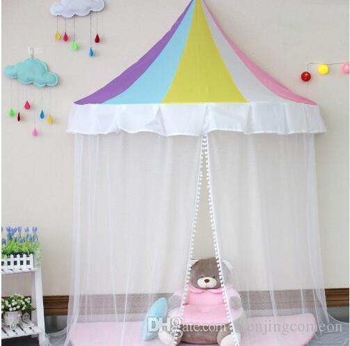 Hanging Bed Canopy Kid Infant Boys Girls Princess Canopy Bed Valance Play Tent Valance Baby Bed Round Kid'S Room Decoration Tents 4 COlors
