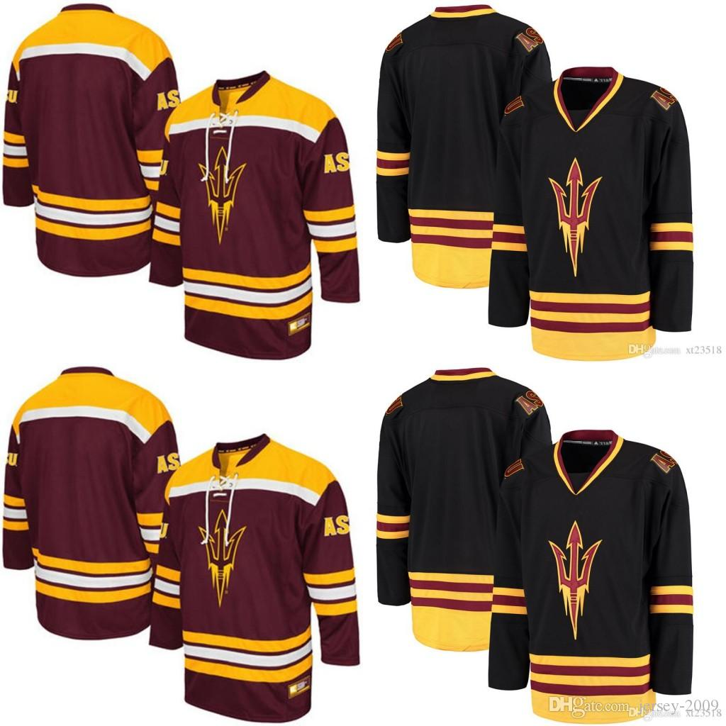 fc48167a2 2019 Mens Black NCAA Arizona State Sun Devils College Hockey Jerseys Maroon  Embroidery ASU Hockey Team Jersey S 3XL From Jersey 2009, $43.66 |  DHgate.Com