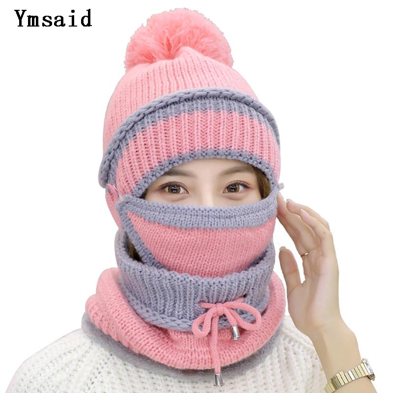 29c728e57a6 Winter Knitted Woolen Hat Warm Mask Collar Triple Suit Skin Care Caps  Protection For Women Ball Caps Scarf Shoes For Girls Cold D18110102 Knit  Hat Hats And ...