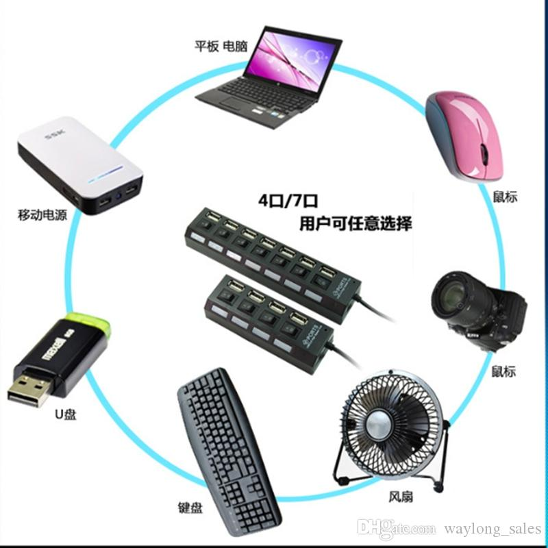 Alta velocidad USB 2.0 Hub 4 Puertos Portátil Interruptor de Encendido / Apagado USB Splitter Adapter para PC Portátil envío gratis