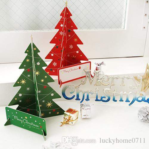 Carte De Noel 3d A Imprimer.2018 Noël 3d Stéréo Couleur Imprimer Diy Noël Créatif Bénédiction Carte De Voeux Carte De Fête De Noël Cadeau De Haute Qualité