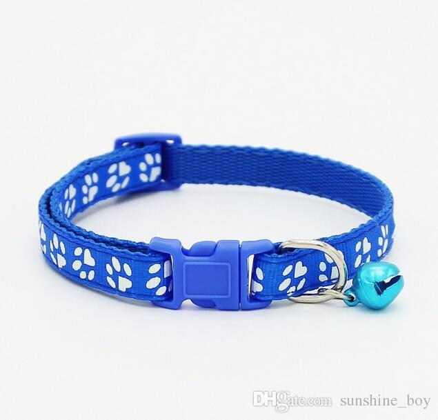 2018 High Quality Safety Nylon Dog Puppy Cat Collar Breakaway Adjustable Cats Collars with Bell and Bling Paw Charm width 1.0cm