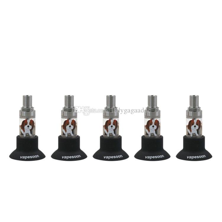 Free DHL Silicone Stand Suction Cup Rubber Base Holder Vape Pen Battery Display Big Black Sucker For 19mm to 22mm Tank Mod