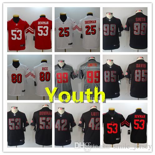 low priced 4c9cb 1fe74 Youth 53 NaVorro Bowman San Francisco Jersey 49ers 80 Jerry Rice Kids  Football Jersey Stitched 99 DeForest Buckner Boys Football Shirt