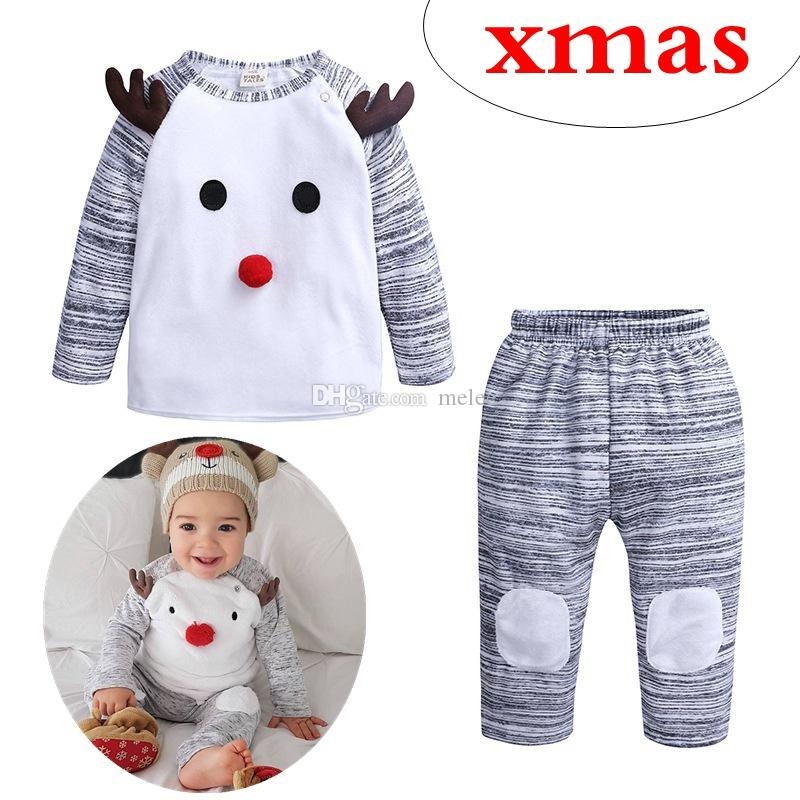 29073657f7e8 INS Winter Kids Christmas Clothes Set Childrens Boutique Clothing ...