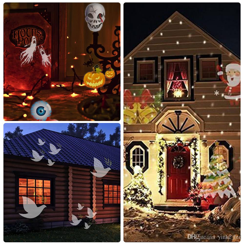 2018 christmas led projector laser light moving light 12replaceable colorful pattern halloween party night lights outdoor garden lawn landscape from - Christmas Led Projector
