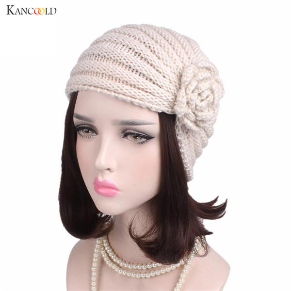 b2e7238629a7e4 Women Knitted Hats New Design Ladies Boho Solid Knitting Cotton Floral Hat  Beanie Scarf Turban Headwear Wrap Cap Hats Se13 Knit Cap Slouch Beanie From  ...