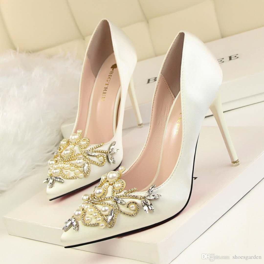 Charming Amazing Crystal Bead Wedding Shoes Gorgeous Pearl Bead Pink Satin Stiletto Heel Pumps Evening Party Prom Shoes