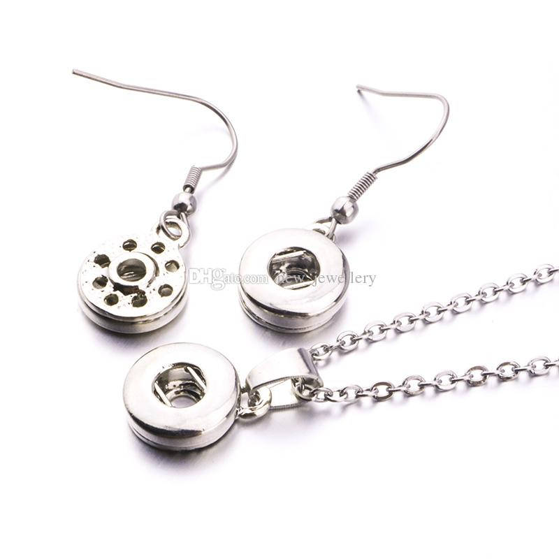 Simple Noosa Silver Plated 12mm 18mm Snap Button Earrings Necklace Jewelry Set For Snap Button Jewelry